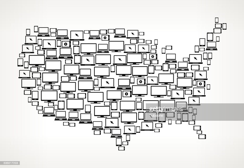 Usa Map Digital Screen And Smartphone Royalty Free Vector ...