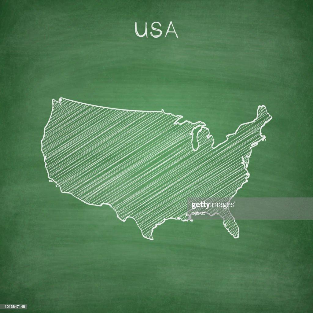 Usa Map Drawn On Chalkboard Blackboard Vector Art Getty Images