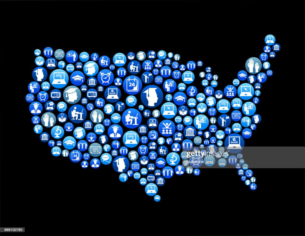 USA Map E-learning and College Education Blue Button Pattern : Stock Illustration
