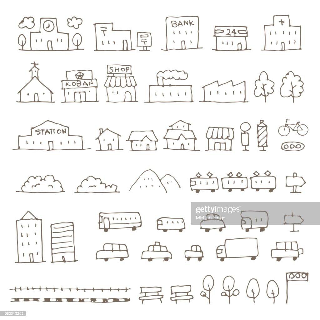 Map elements sketch icon set