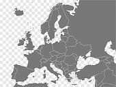 Map Europe vector. Gray similar Europe map blank vector on transparent background.  Gray similar Europe map with borders of all countries and Turkey, Israel, Armenia, Georgia, Azerbaijan. EPS10.
