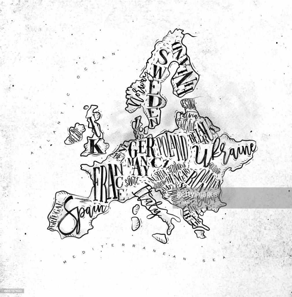 Map Europe vintage