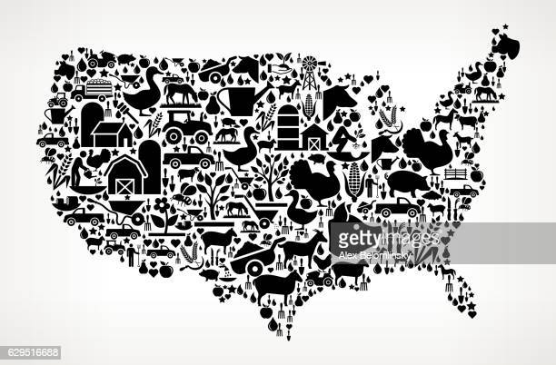 us map farming and agriculture black icon pattern - icon collage stock illustrations
