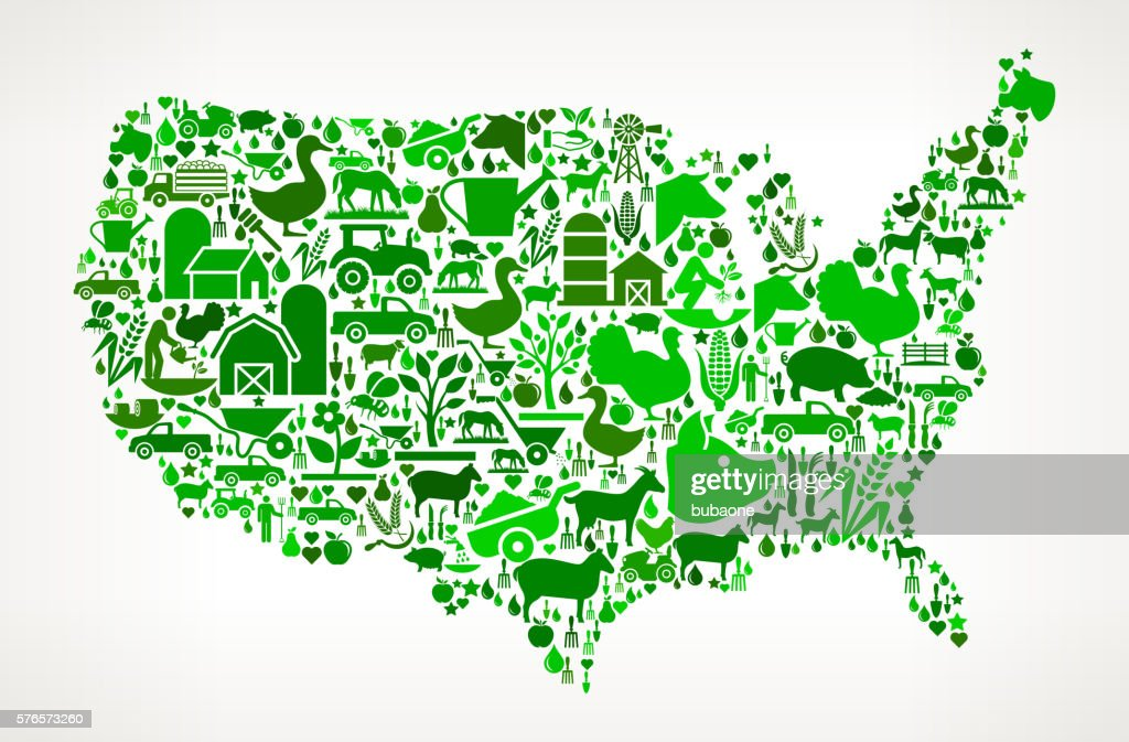 Us Map Farming And Agriculture Green Icon Pattern Stock Illustration - Map-of-us-agriculture