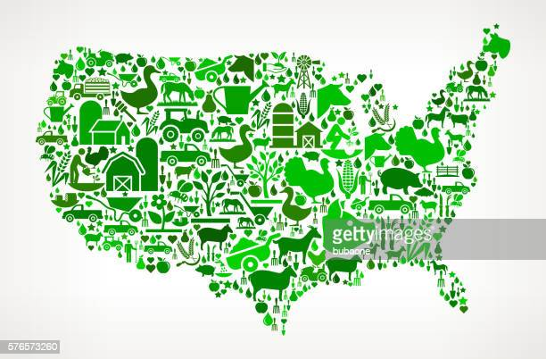 US Map Farming and Agriculture Green Icon Pattern