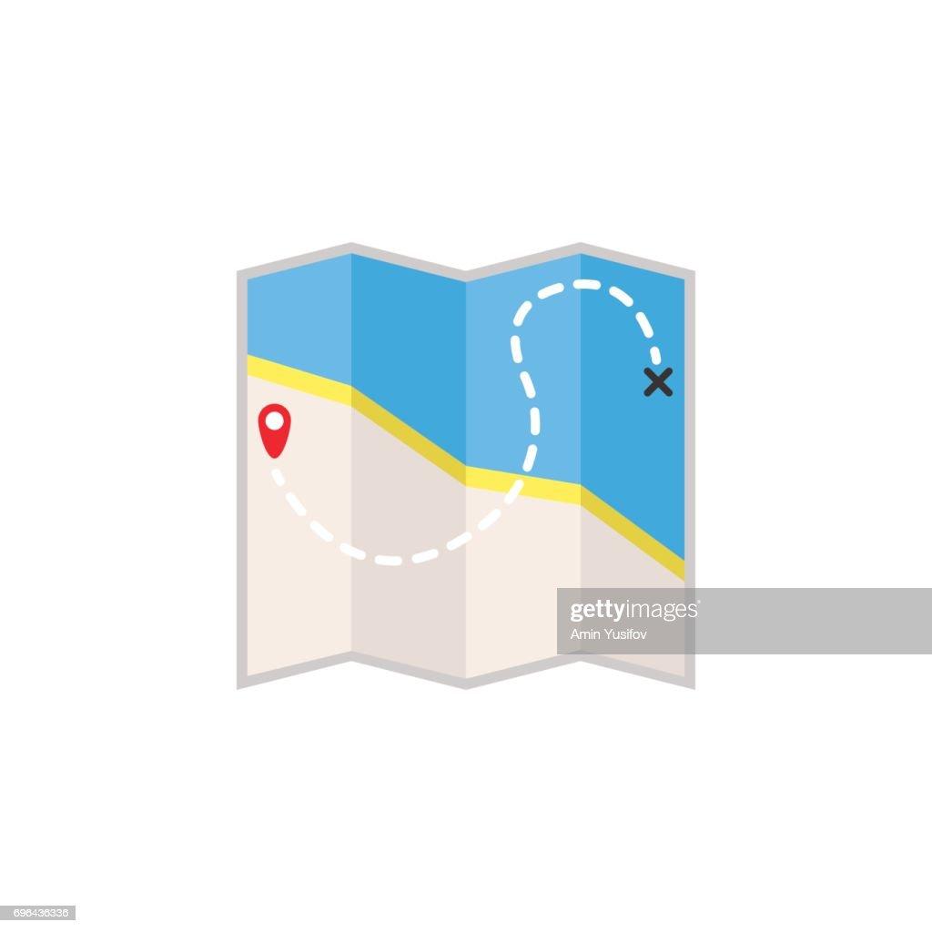 Map flat icon, travel navigation
