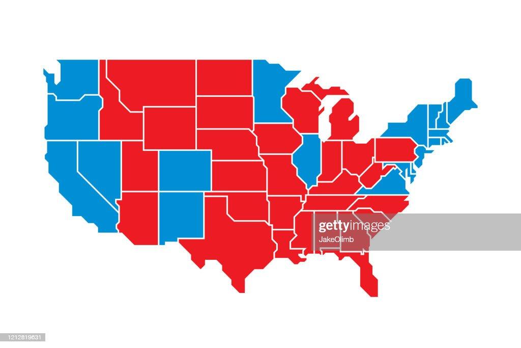USA Kaart Plat : Stockillustraties