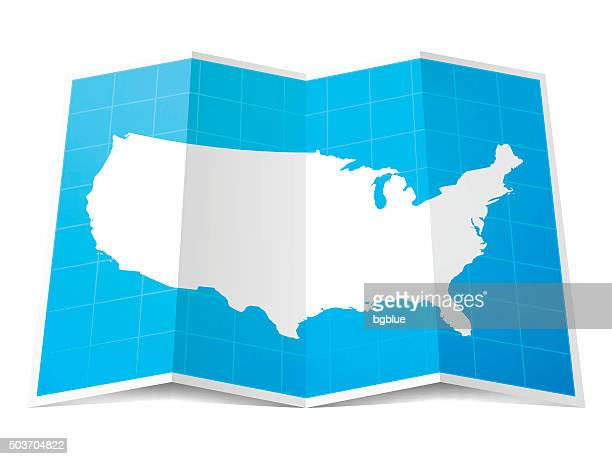 USA Map folded, isolated on white Background