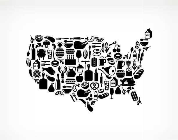 USA Map Food & Drink Royalty Free Vector Arts Wall Art