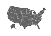 USA map for atlas vector icon isolated on white background
