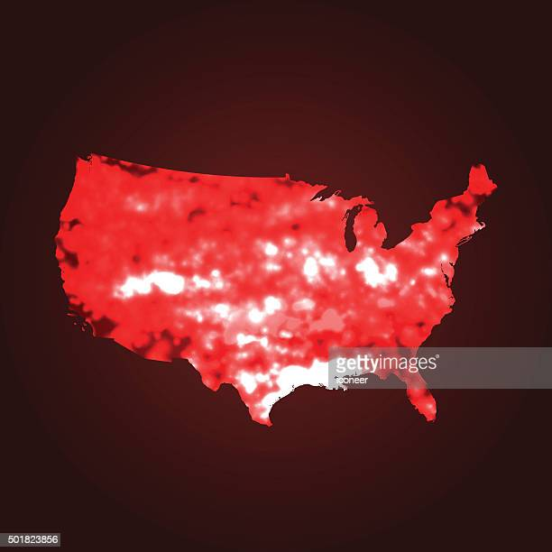 usa map global warming on red background - heat stock illustrations, clip art, cartoons, & icons