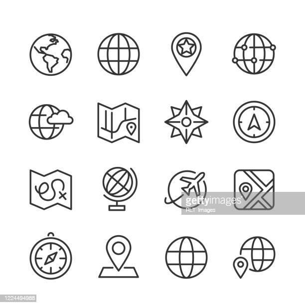 マップとグローブ アイコン — モノライン シリーズ - 北点のイラスト素材/クリップアート素材/マンガ素材/アイコン素材