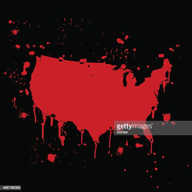 米国地図グラフィティレッド splats に黒色の壁 - 血しぶき点のイラスト素材/クリップアート素材/マンガ素材/アイコン素材