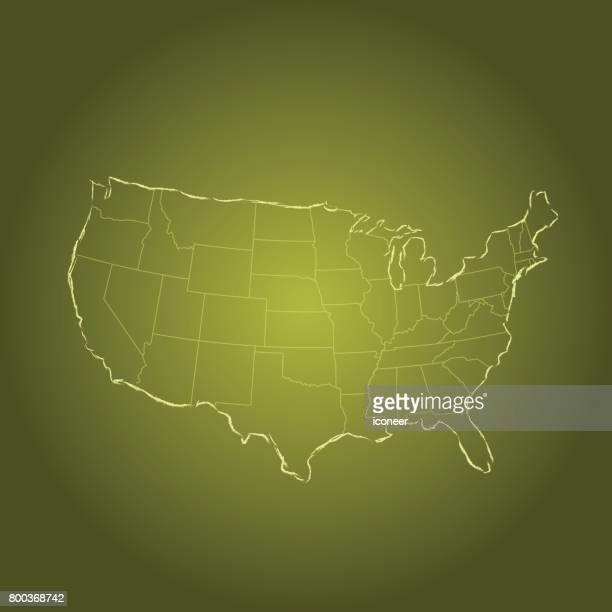 USA-Karte grün auf Farbverlauf Hintergrund