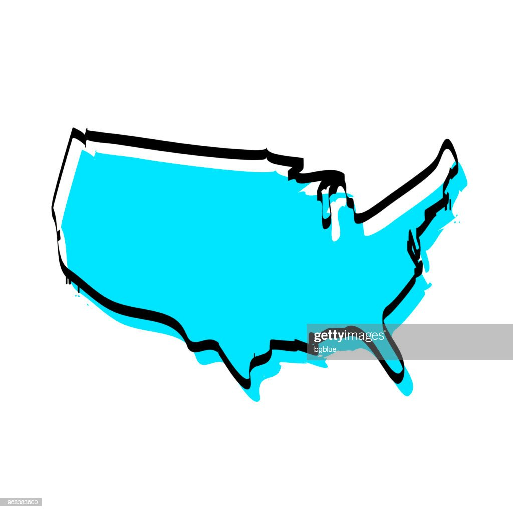 Usa Map Hand Drawn On White Background Trendy Design stock vector ...