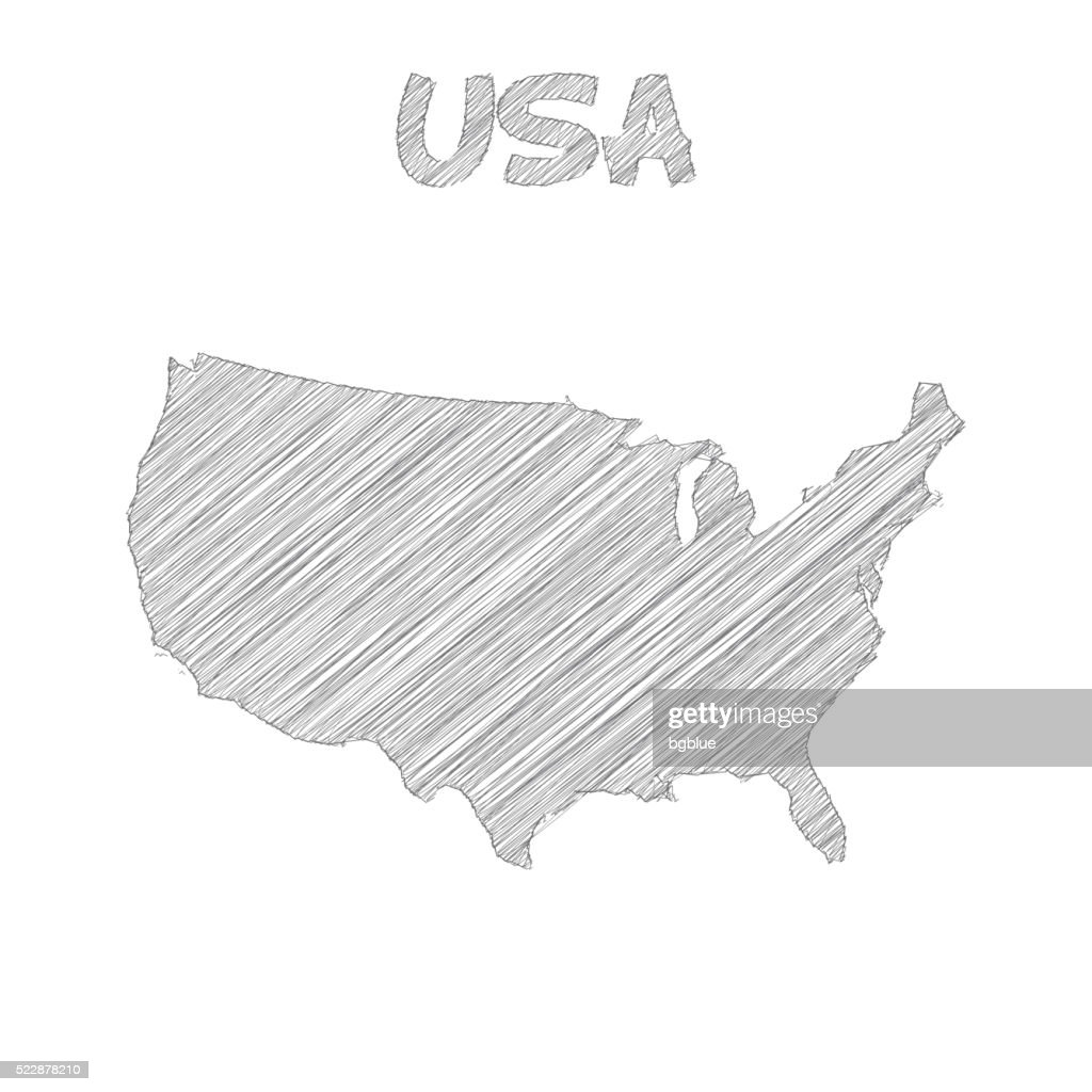 Usa Map Hand Drawn On White Background Vector Art   Getty Images