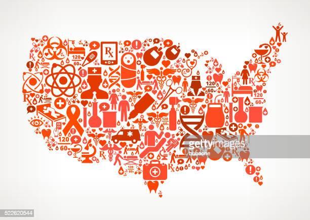 米国地図のヘルスケアと医療アイコンとのシームレスなパターン