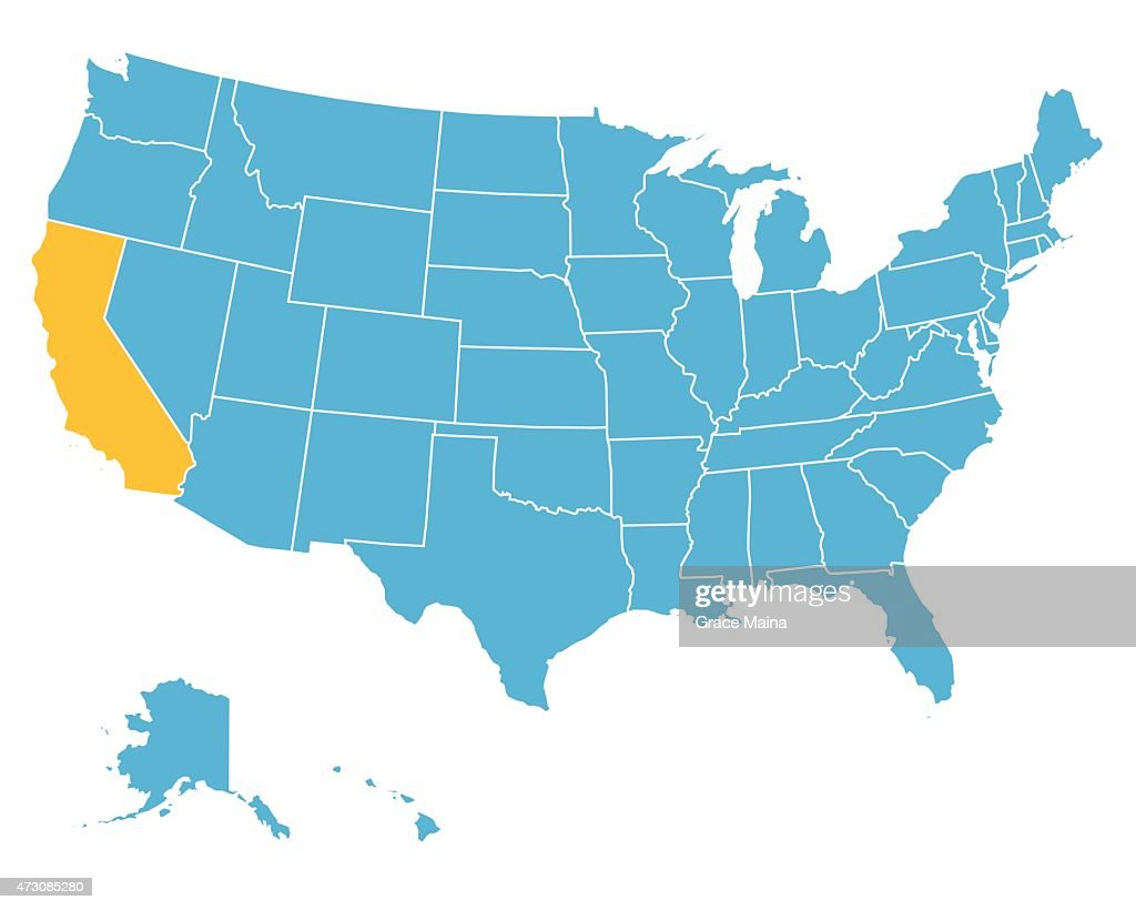 Usa Map Highlighting State Of California Vector High-Res ... California On Usa Map on california on world map, california on map of north america, california counties map, california cities map, california maps with it on, california on europe map,