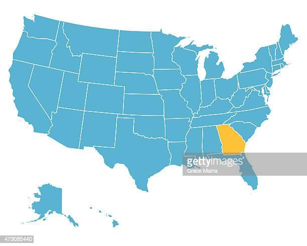 ilustraciones, imágenes clip art, dibujos animados e iconos de stock de estados unidos mapa resaltar estado de georgia-vector - georgia estado de eeuu