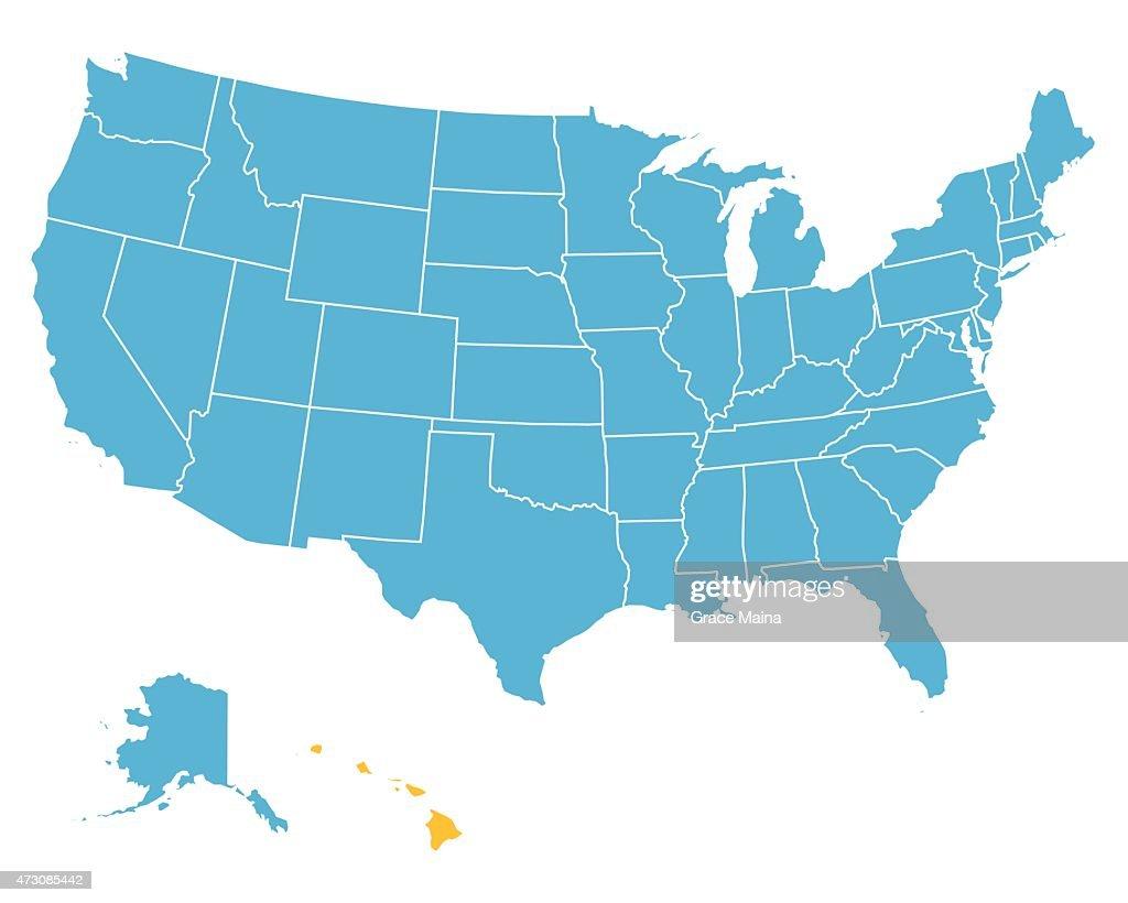 Usa map highlighting state of hawaii vector vector art getty images usa map highlighting state of hawaii vector vector art gumiabroncs Images