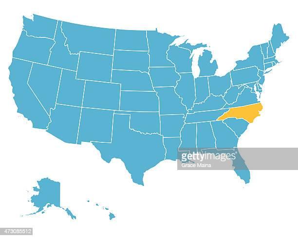 bildbanksillustrationer, clip art samt tecknat material och ikoner med usa map highlighting state of north carolina - vector - north carolina amerikansk delstat