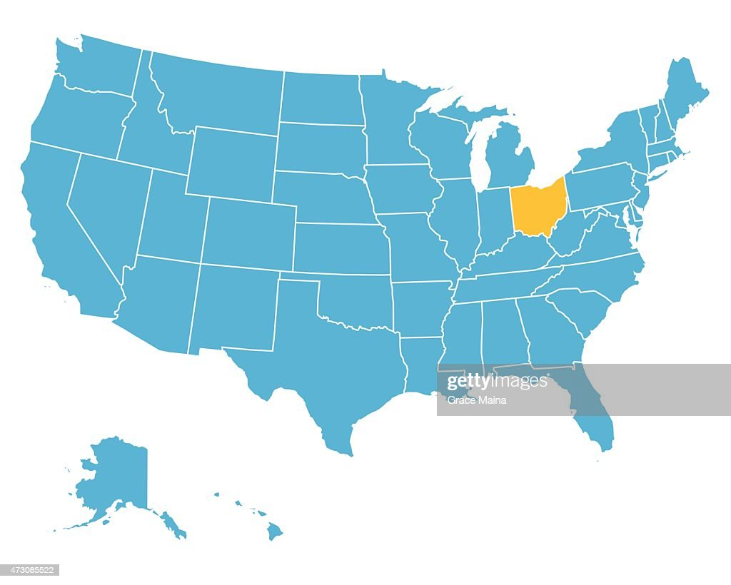 Usa Map Highlighting State Of Ohio Vector Vector Art Getty Images