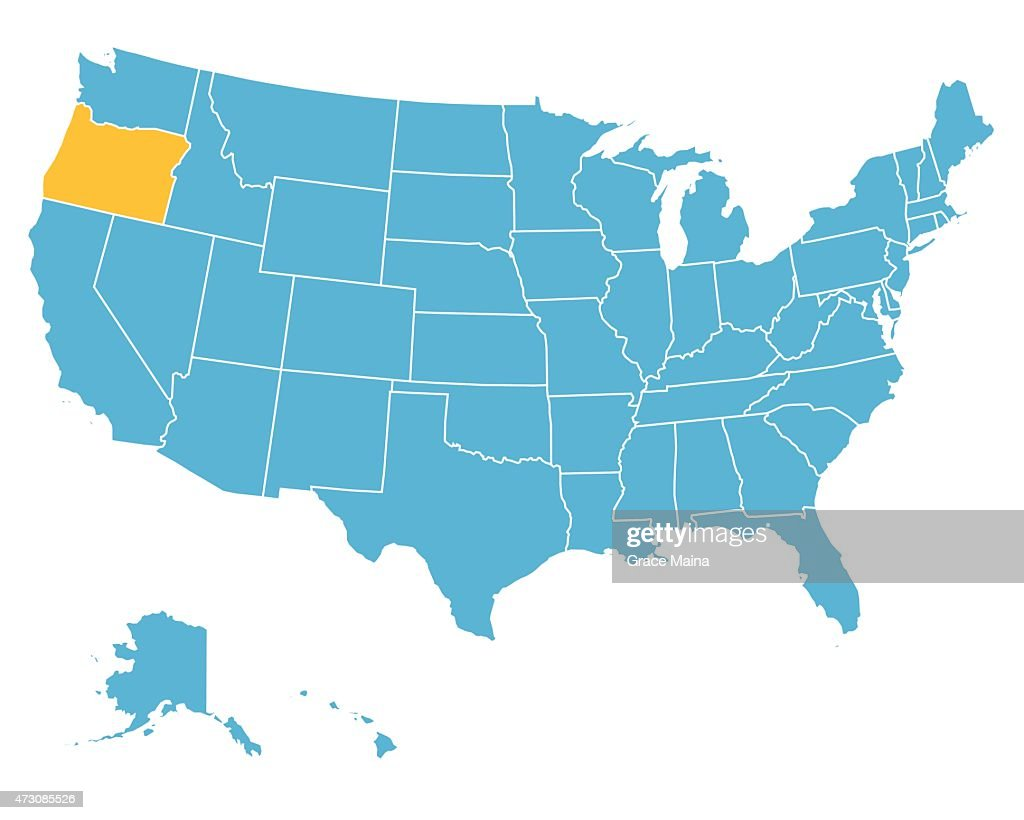 Usa Map Highlighting State Of Oregon Vector Vector Art | Getty Images