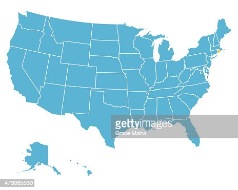 Yellow Map Of Usa With Rhode Island State In Red Vector Art - Rhode island on us map
