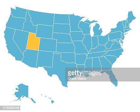 Usa Map Highlighting State Of Utah Vector Vector Art Getty Images - Utah on us map