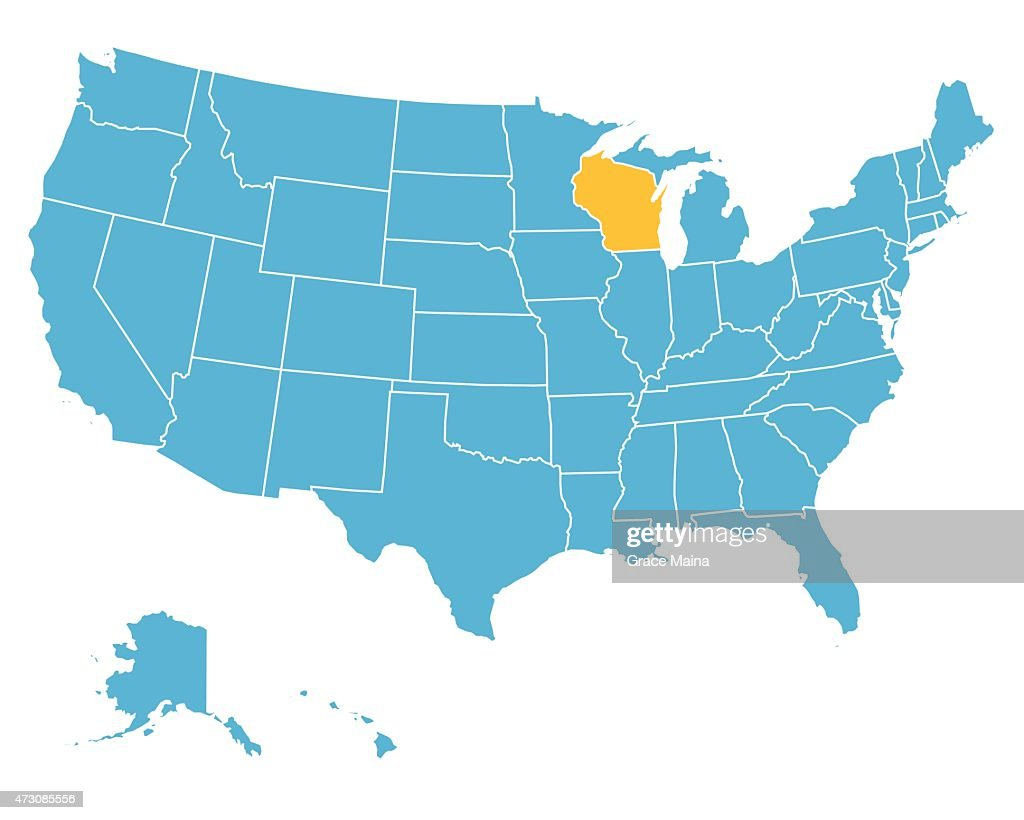 Usa Map Highlighting State Of Wisconsin Vector High-Res ...