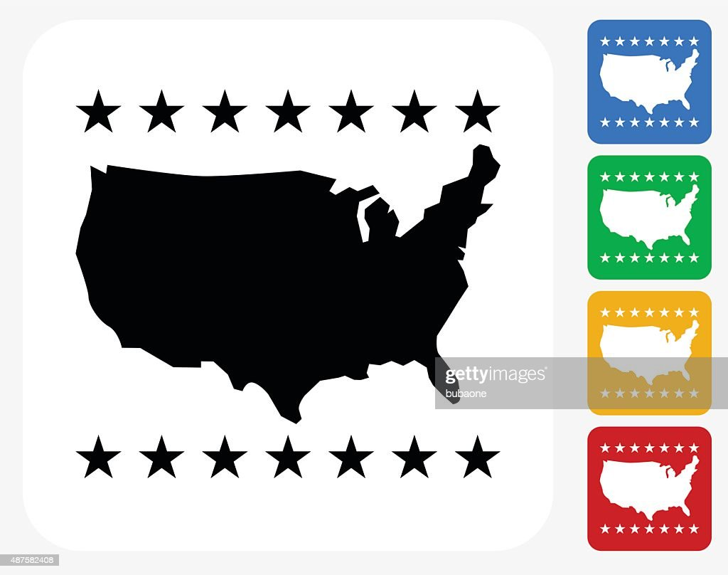 U.S.A Map Icon Flat Graphic Design