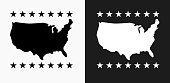 U.S.A Map Icon on Black and White Vector Backgrounds