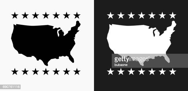 u.s.a map icon on black and white vector backgrounds - werkzeug stock illustrations