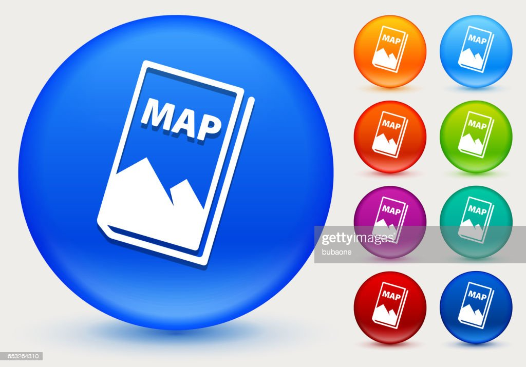 Map Icon on Shiny Color Circle Buttons : Vector Art
