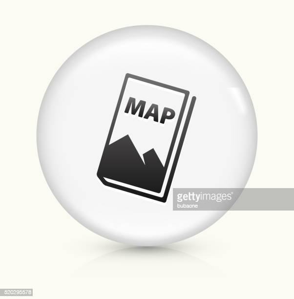 Map icon on white round vector button