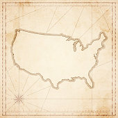 USA map in retro vintage style - old textured paper