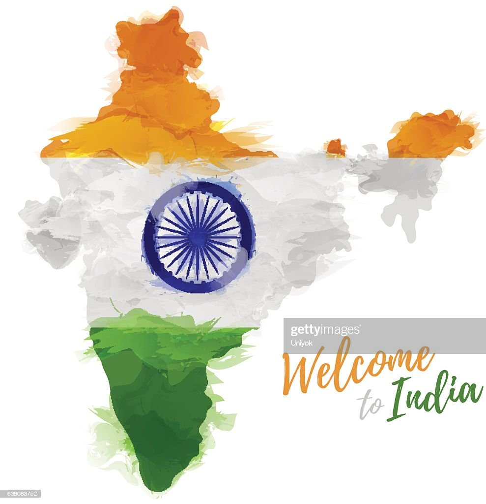 Map  India with the decoration of the national flag.