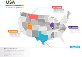 USA map infographics vector template with regions and pointer marks