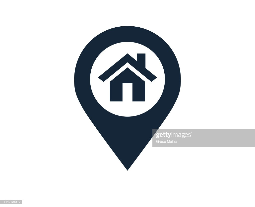 Map Location And Direction Icon Symbol With A House Or Home Location : Stock Illustration