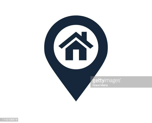 map location and direction icon symbol with a house or home location - locator map stock illustrations