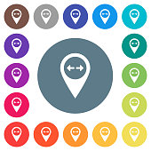 GPS map location distance flat white icons on round color backgrounds