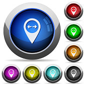 GPS map location distance round glossy buttons