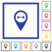 GPS map location flat framed icons