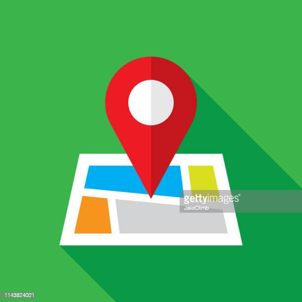 map location icon flat - distance marker stock illustrations
