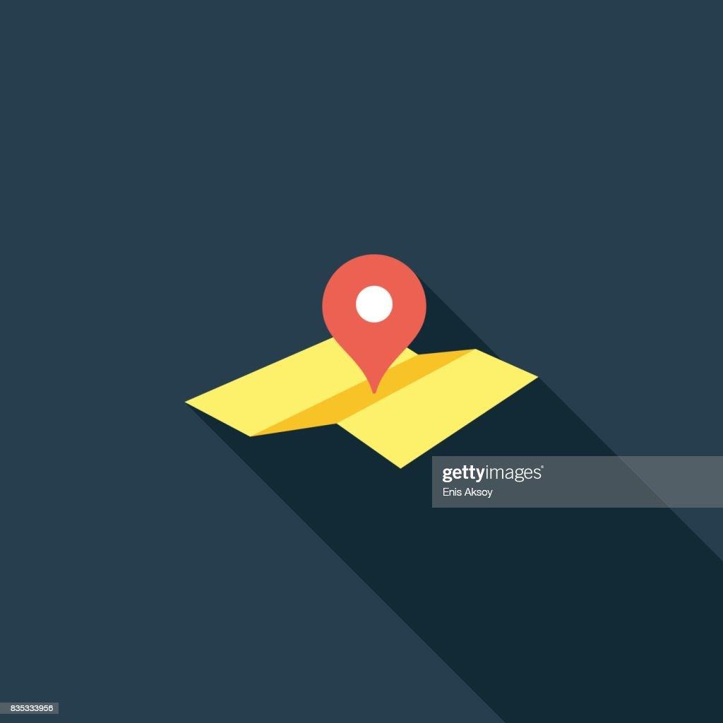Icono de puntero plano mapa ubicación : Ilustración de stock