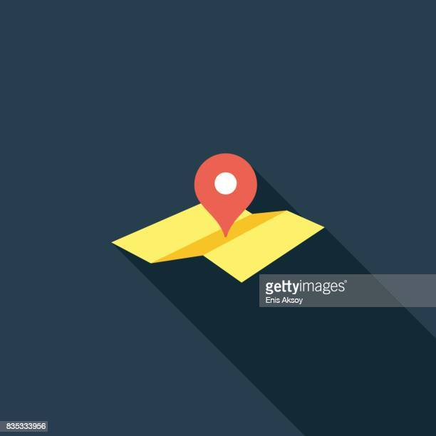 map location pointer flat icon - famous place stock illustrations