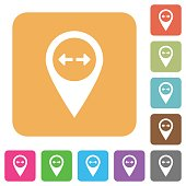 GPS map location rounded square flat icons