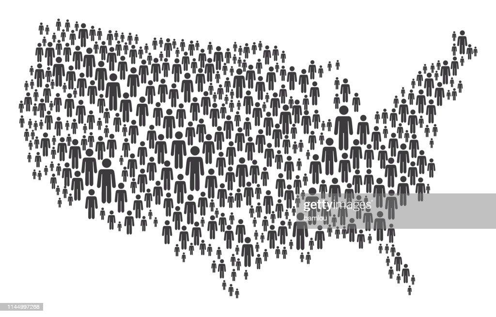 Mappa USA fatta di figure grigie stickman : Illustrazione stock