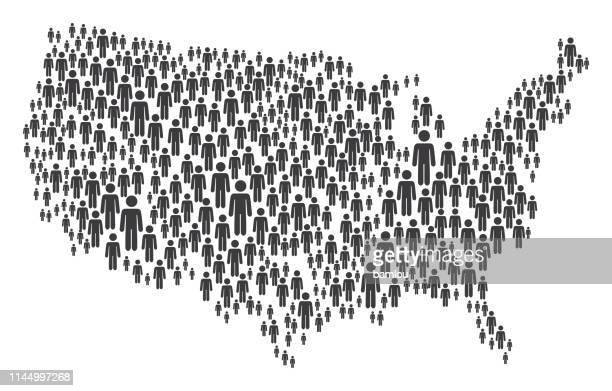 usa map made of grey stickman figures - werkzeug stock illustrations