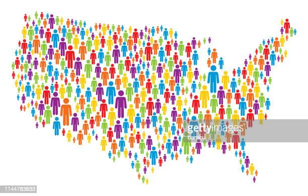 usa map made of multicolored stickman figures - werkzeug stock illustrations